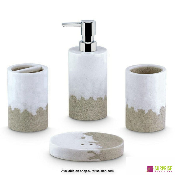 Surprise Home - White & Grey 4 Pcs Bath Set