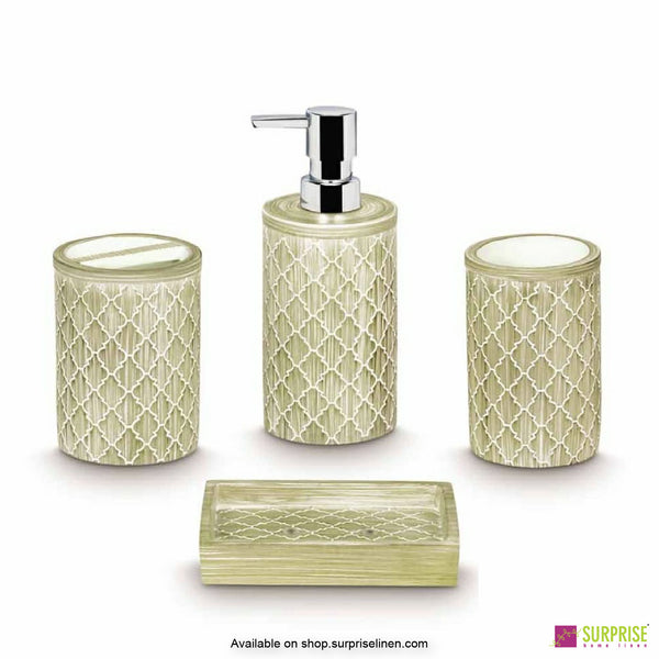 Surprise Home - Damask Beige 4 Pcs Bath Set