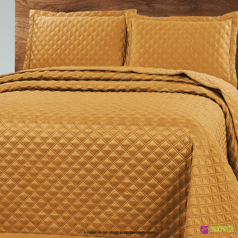 Surprise Home - Luxe 3 Pcs Quilted Bed Cover Set (Gold)