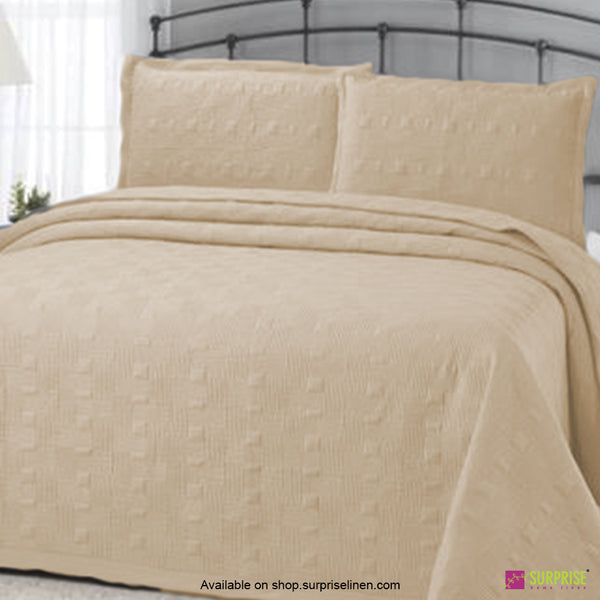 Surprise Home - Elegance 3 Pcs Quilted Bed Cover Set (Ivory)