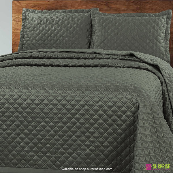 Surprise Home - Luxe 3 Pcs Quilted Bed Cover Set (Olive Green)