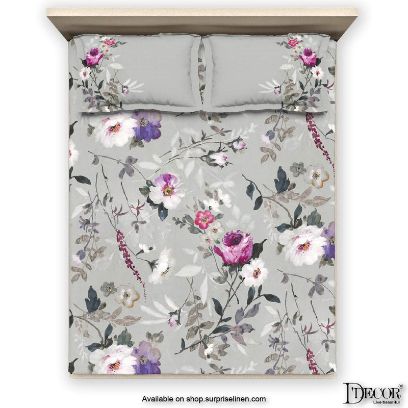 D'Decor- Platinum Collection Viola Mineral Grey Bed Sheet Set