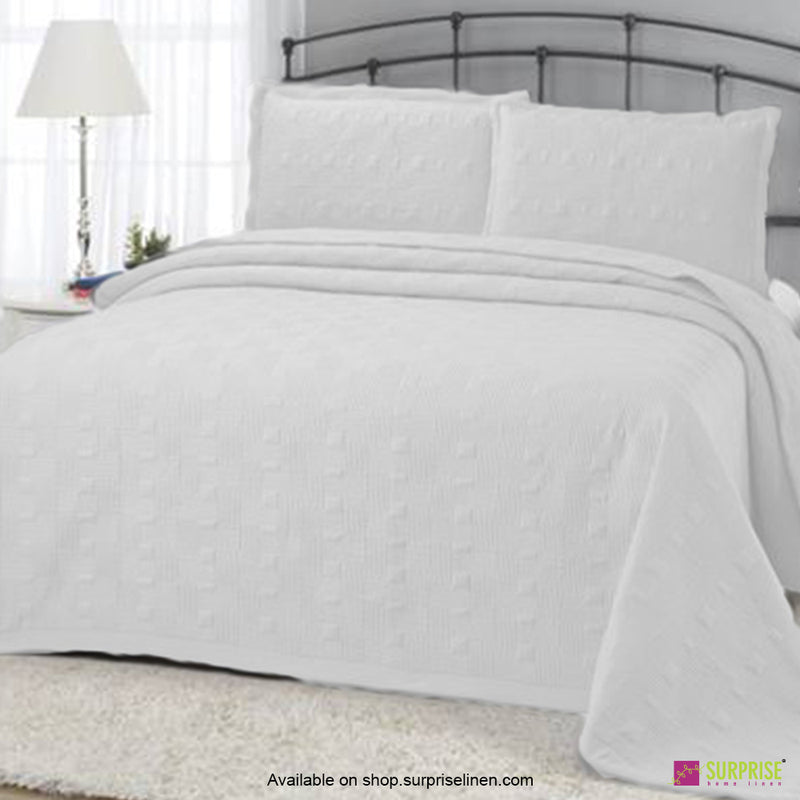 Surprise Home - Elegance 3 Pcs Quilted Bed Cover Set (White)