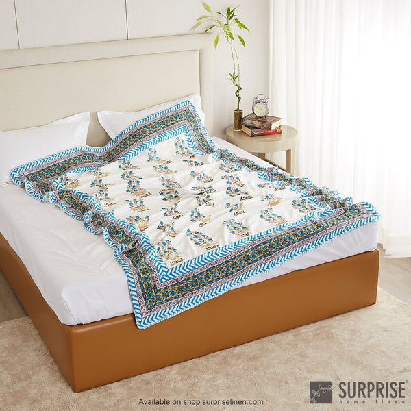 Surprise Home - Mughal Print Dohar (Sky Blue)