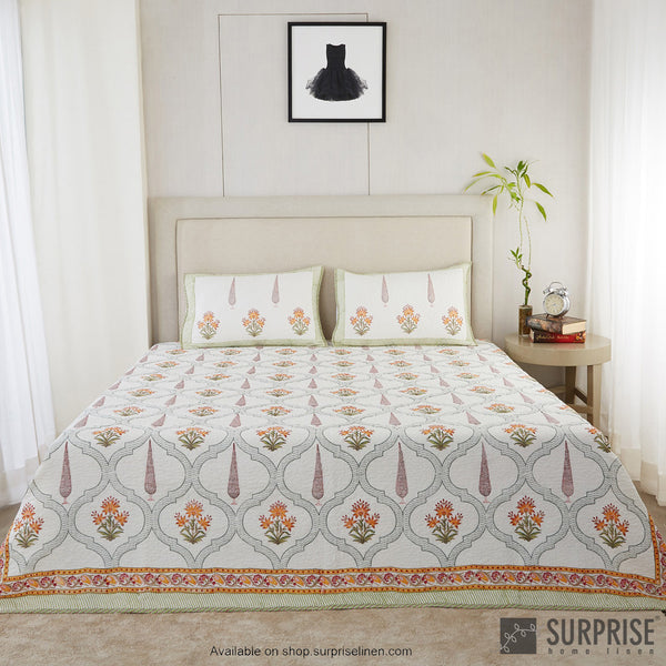 Surprise Home - Hand Block Print Bed Cover Set (Green / Yellow)