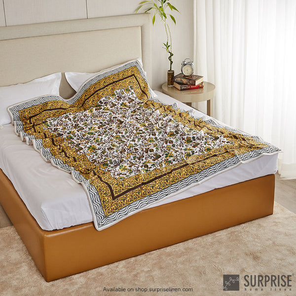Surprise Home - Mughal Print Dohar (Yellow)
