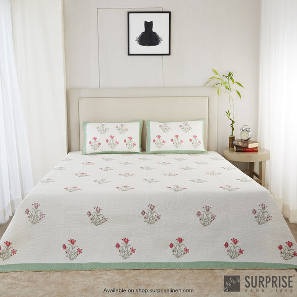 Surprise Home - Hand Block Print Bed Cover Set (Light Green)