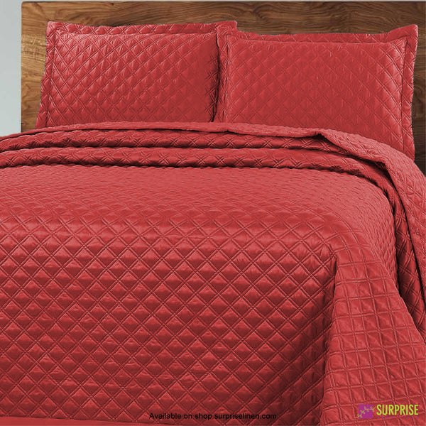 Surprise Home - Luxe 3 Pcs Quilted Bed Cover Set (Rusty Red)