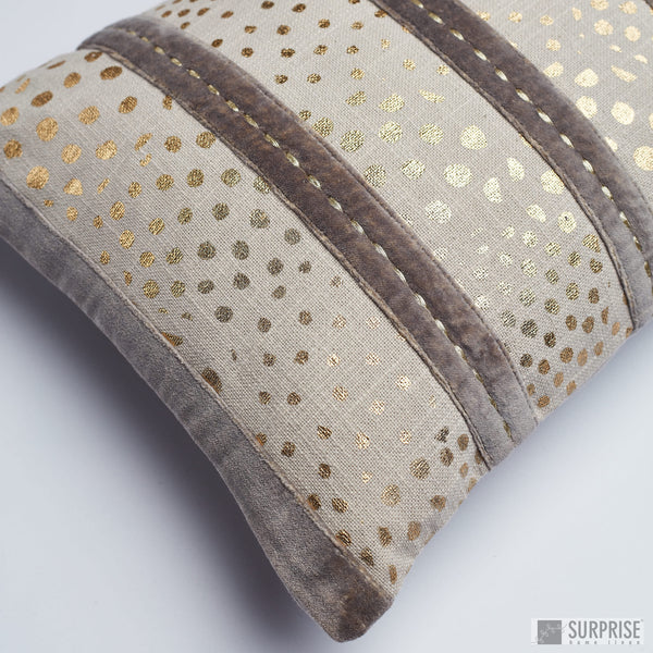 Surprise Home - Velvet Foil Stripes Cushion Covers (Grey)