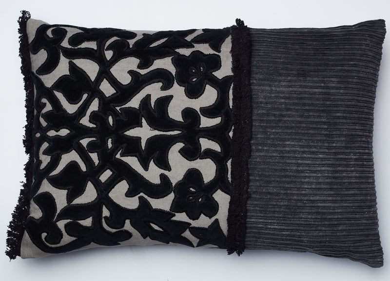 Surprise Home - Textured Damask 30 x 45 cms Cushion Covers (Charcoal)