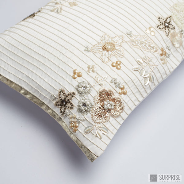 Surprise Home - Beaded Flowers Cushion Covers (Off White)