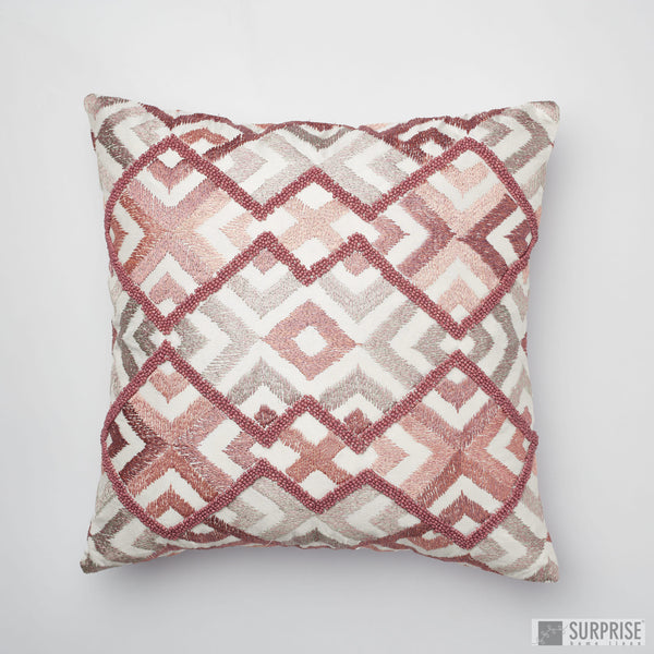 Surprise Home - Beaded Rhombus Cushion Covers (Pink)