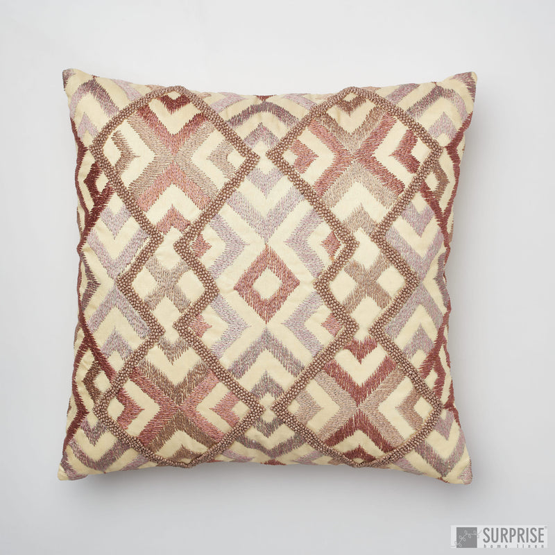 Surprise Home - Beaded Rhombus Cushion Covers (Beige)