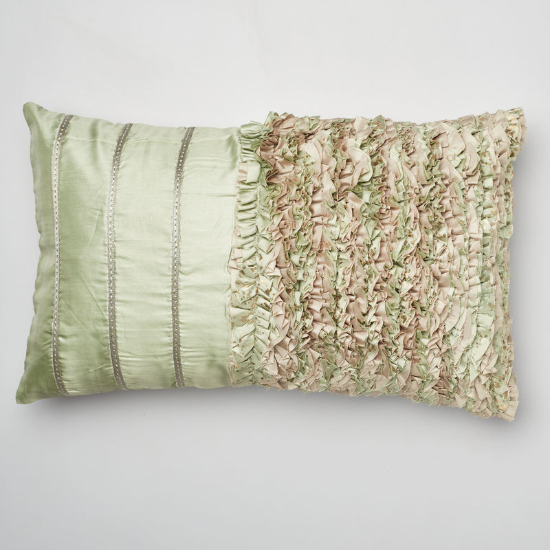 Surprise Home - Ruffles 30 x 50 cms Cushion Covers (Green)