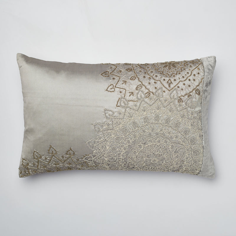 Surprise Home - Beaded Mandalas Cushion Covers (Grey)