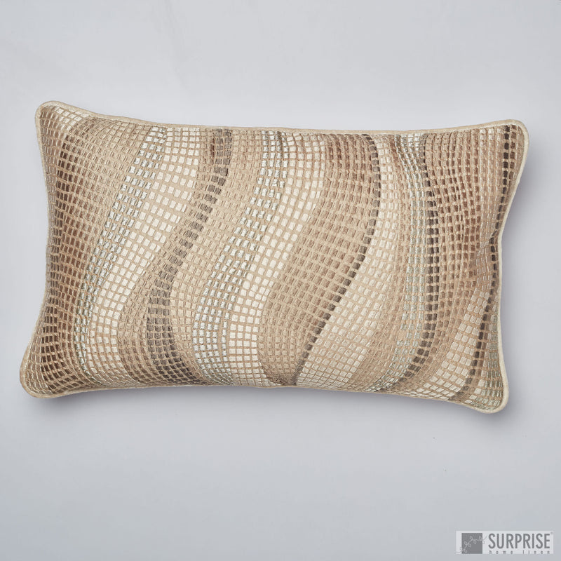 Surprise Home - Wave Checks 30 x 50 cms Cushion Covers (Champagne)