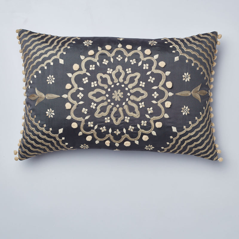 Surprise Home - Mandala 35 x 55 cms Cushion Covers (Charcoal)