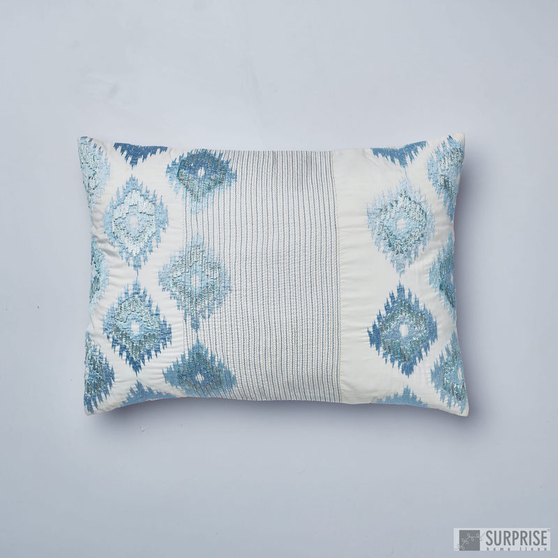 Surprise Home - Silk Ikat Cushion Covers (Aqua Blue)
