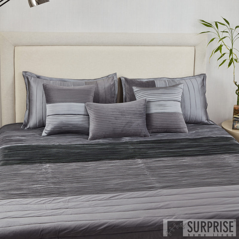 Surprise Home - Exclusive Pintucks 6 Pcs Quilted Bed Cover set (Charcoal)