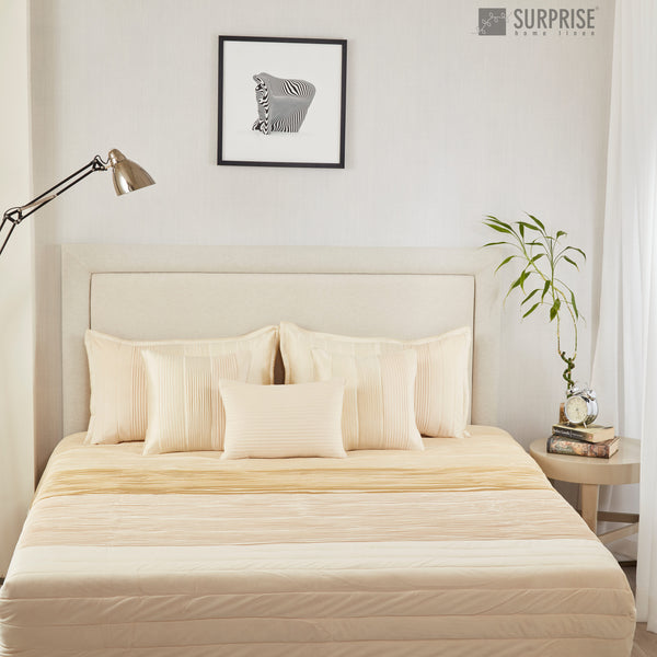 Surprise Home - Exclusive Pintucks 6 Pcs Quilted Bed Cover set (Ivory)