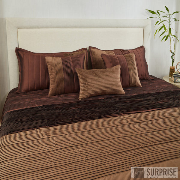 Surprise Home - Exclusive Pintucks 6 Pcs Quilted Bed Cover set (Brown)
