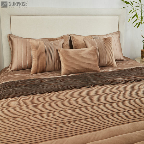 Surprise Home - Exclusive Pintucks 6 Pcs Quilted Bed Cover set (Beige)
