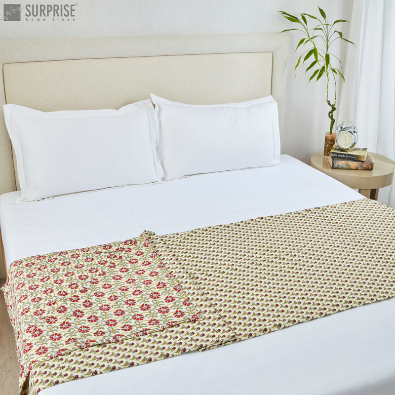 Surprise Home - Mughal Print Reversible Single Dohar (Cream & Green)