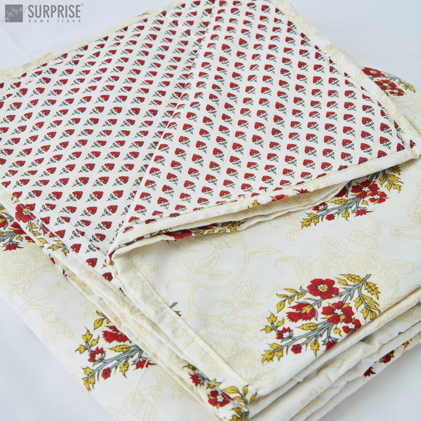 Surprise Home - Mughal Print Reversible Single Dohar (White & Red)