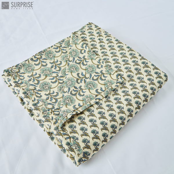 Surprise Home - Mughal Print Reversible Double Dohar (Cream & Blue)