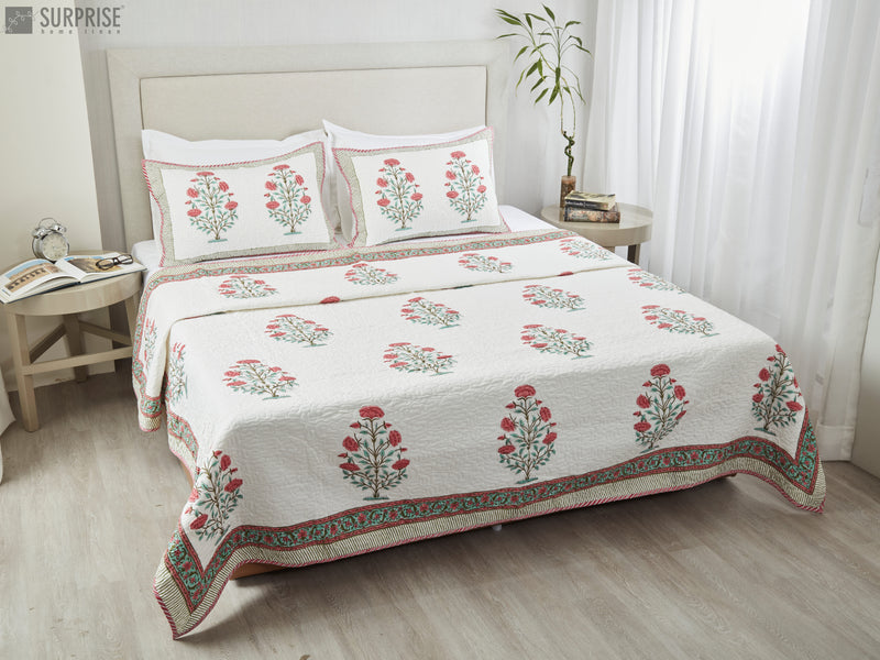 Surprise Home - Hand Block Printed Bed Covers (White & Red)