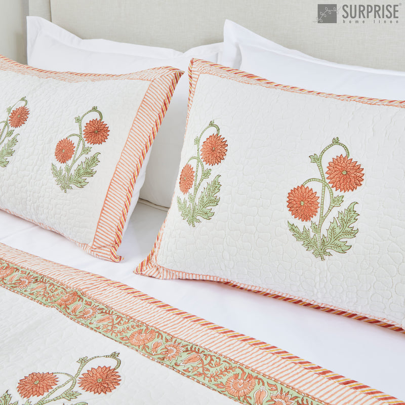 Surprise Home - Hand Block Printed Bed Covers (White & Orange)