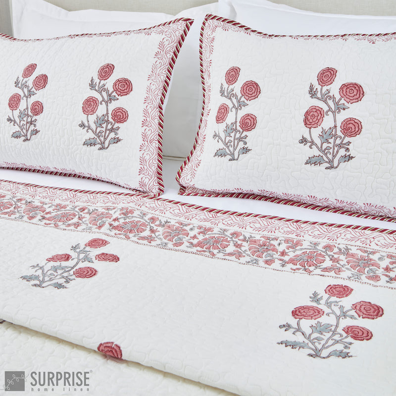 Surprise Home - Hand Block Printed Bed Covers (White & Pink)