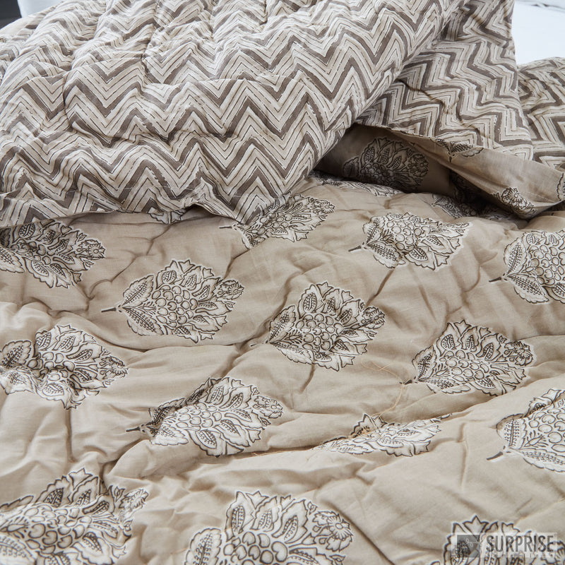 Surprise Home - Screen Printed Reversible Double Quilt (Light Beige)