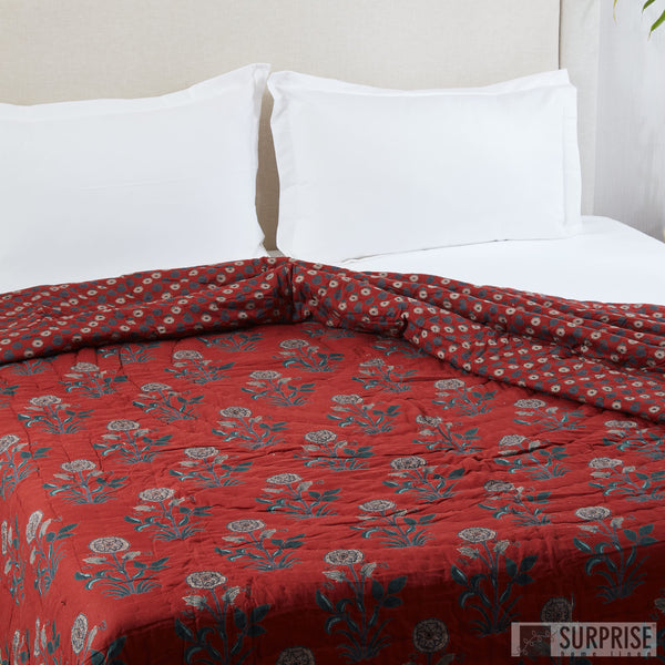 Surprise Home - Screen Printed Reversible Double Quilt (Maroon)