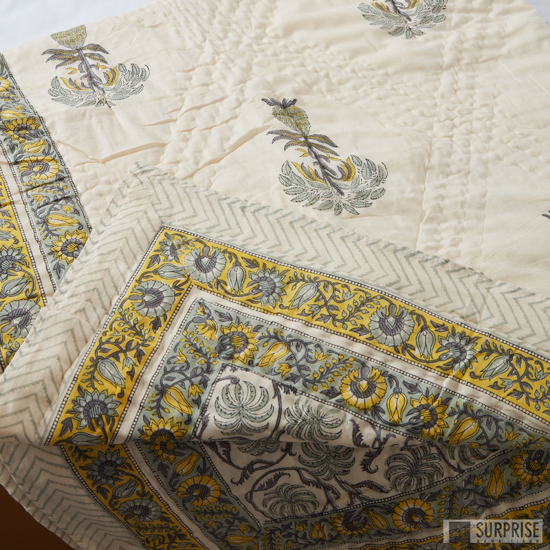 Surprise Home - Hand Block Print Rajai (Floral Cream)