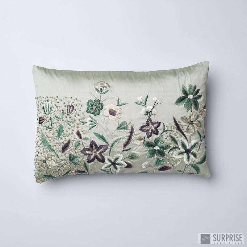 Surprise Home - Embroidered Garden 30 x 45 cms Cushion Cover (Green)