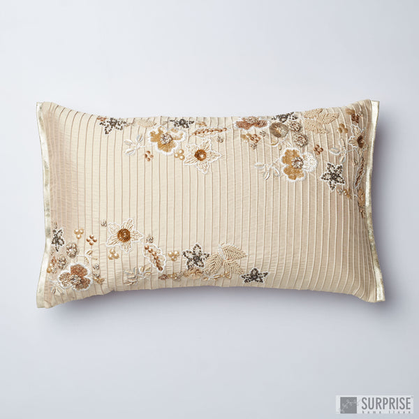 Surprise Home - Beaded Flowers Cushion Covers (Light Beige)