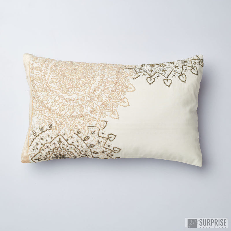 Surprise Home - Beaded Mandalas Cushion Covers (Cream)