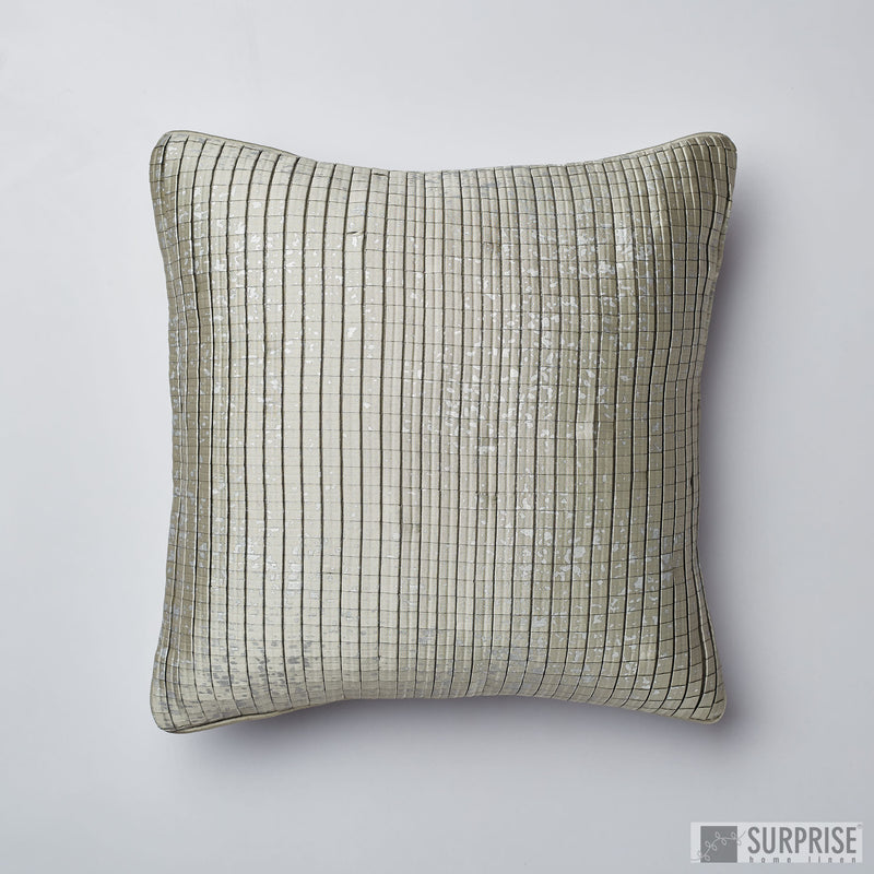 Surprise Home - Silk Checks Cushion Covers (Grey)