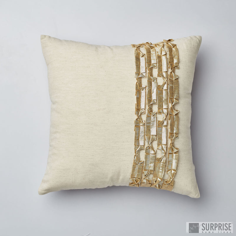 Surprise Home - Metallic Ribbons Cushion Covers (Gold)