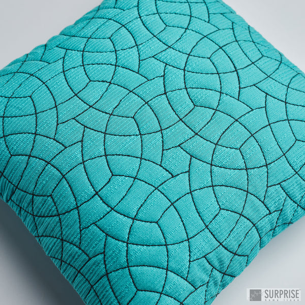 Surprise Home - Circle Trellis Cushion Covers (Turquoise)