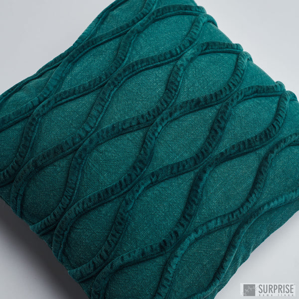 Surprise Home - Waves Cushion Covers (Dark Green)