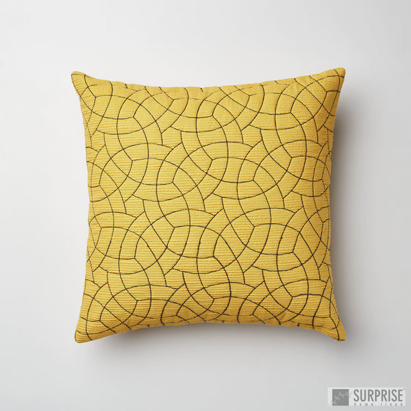 Surprise Home - Circle Trellis 30 x 30 cms Cushion Covers (Yellow)