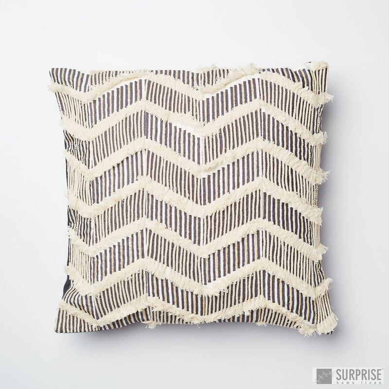 Surprise Home - Sequined Chevron Cushion Covers (Charcoal)