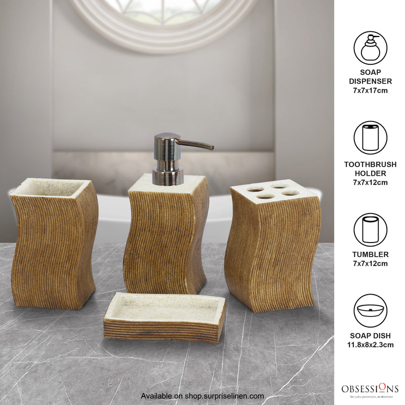 Obsessions - Alvina 4 Pcs Bath Set (Sandstone With Brown)