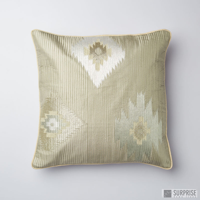Surprise Home - Silk Ikat Cushion Covers (Green/Gold)