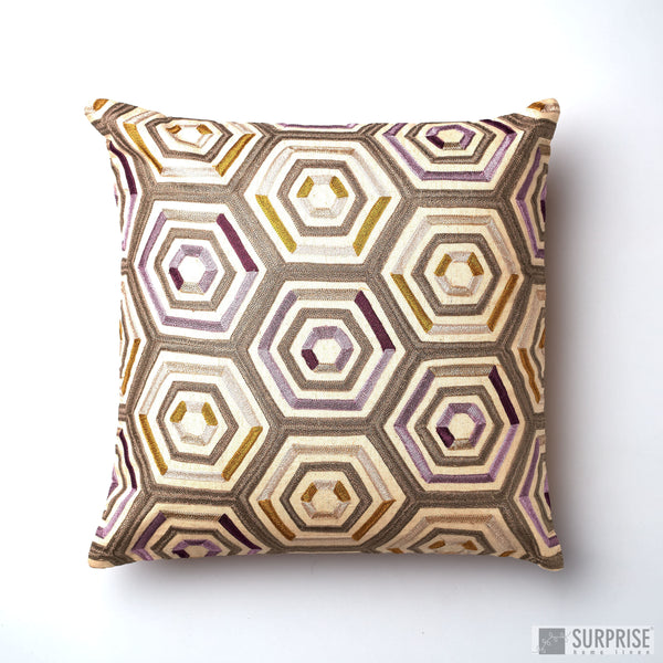 Surprise Home - Aari Hive Cushion Cover (Mustard)