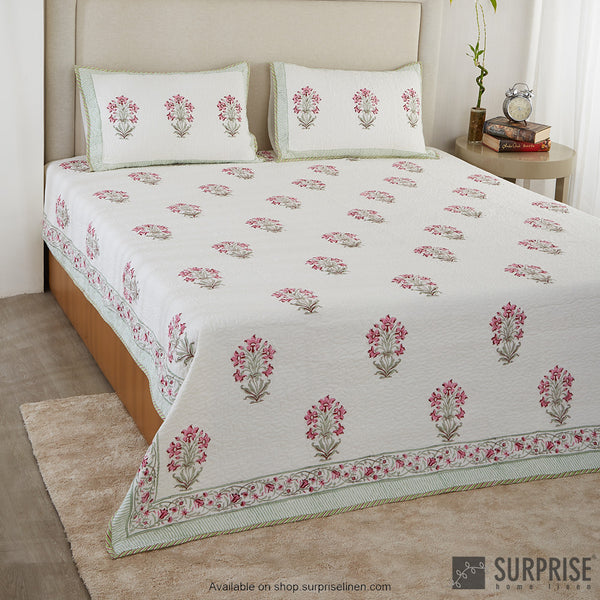 Surprise Home - Hand Block Print Bed Cover Set (Pink)