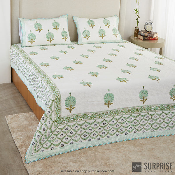 Surprise Home - Hand Block Print Bed Cover Set (Mint Green)