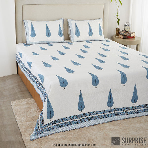 Surprise Home - Hand Block Print Bed Cover Set (Fern Blue)